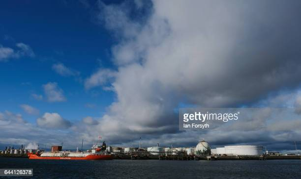 Viewed from onboard the boat High Tide Adventurer a ship unloads Liquefied Petroleum Gas at a facility on the banks of the River Tees on February 23...