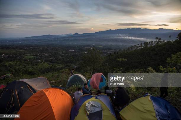 Viewed of people in the morning of new year at Cipelang Bogor Indonesia on 1 January 2018 Cipelang is one of Indonesia tourist which mostly local...