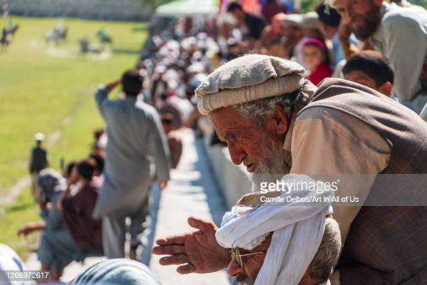 Viewer wearing a felt beret at a polo ground on Mai 25 2016 in Chitral Khyber Pakhtunkhwa Pakistan