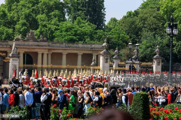 Viewers attend the celebration of the Queen's birthday called Trooping The Colour on June 9 2018 in London England