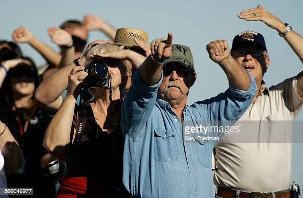 Viewers search th esky for the arrival of the space shuttle Endeavour at Edwards Air Force Base at 12506 pm on November 30 2008 It was scheduled to...