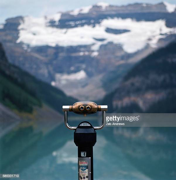 Viewing binoculars looking across Lake Louise, Canada