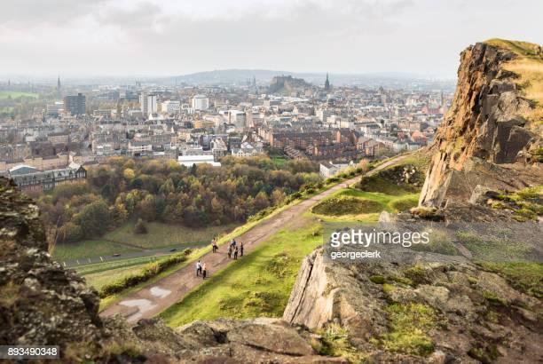 Viewing Edinburgh from Salisbury Crags
