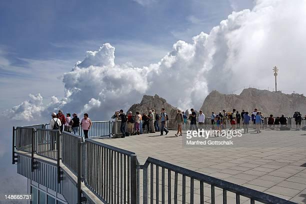 Viewing platform at the summit of Zugspitze,Wetterstein Range, Bavarian Alps.