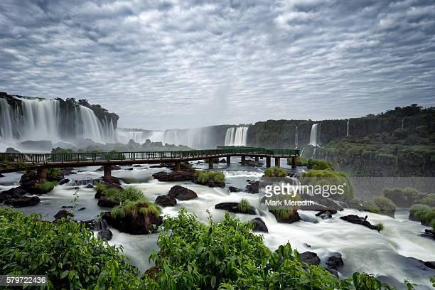 Viewing platform beneath Floriano Falls at Iguazu Falls in Brazil