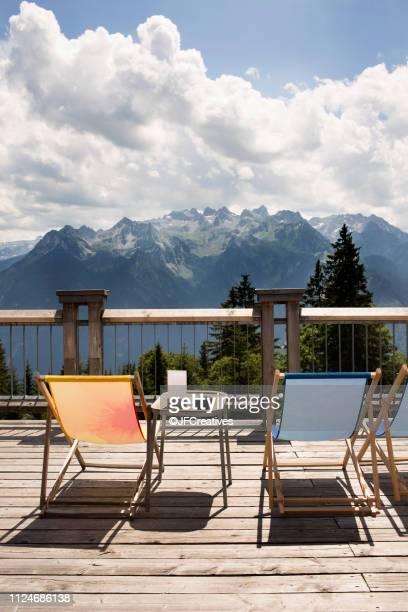 viewing platform with deckchairs, bludenz, vorarlberg, austria - フォアアールベルク州 ストックフォトと画像