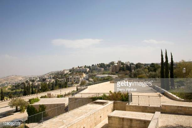 Viewing spot at Montefiore's Windmill in the community called Yemin Moshe, overlooking the hills of Jerusalem, Israel
