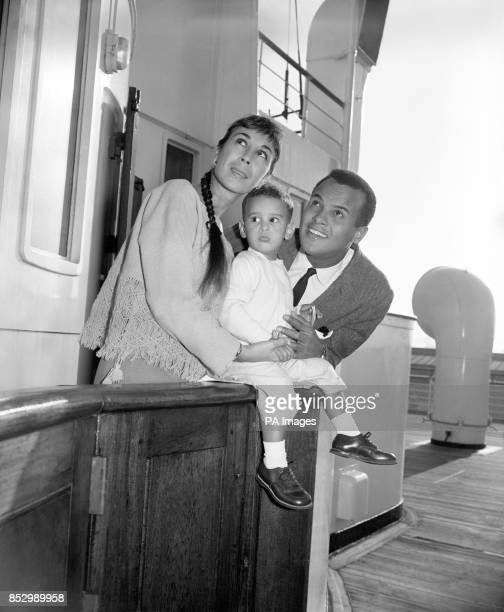 Viewing the busy scene at southampton are Hollywood actor and singer Harry Belafonte his wife Juie and young son David They had just arrived from New...