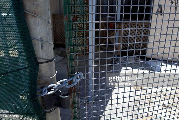 A viewof the locked gate to the Construction camp detention center February 29 2012 on Christmas Island Australia Department of Immigration officials...