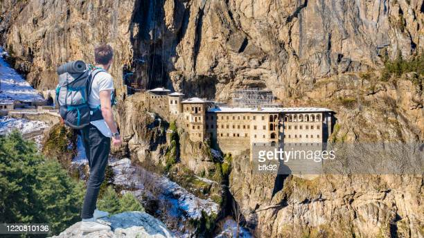 viewpoint above snowcapped mountains near sumela monastery. - orthodox church stock pictures, royalty-free photos & images
