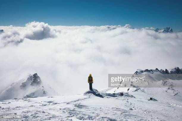 viewpoint above the fog - trois vallees stock pictures, royalty-free photos & images
