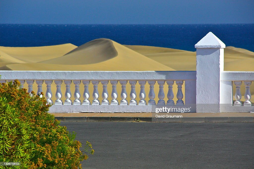 Viewpoint from hotel at dunes and ocean : Stock Photo