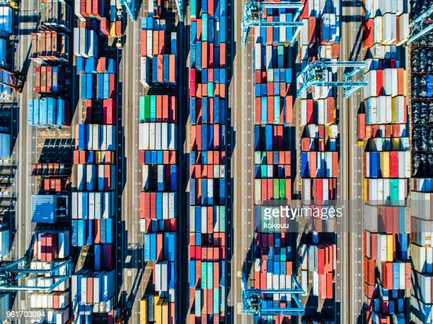 viewpoint from the sky where containers are arranged. - consumerism stock pictures, royalty-free photos & images