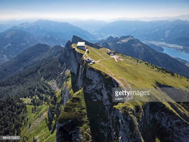 viewpoint on schafberg mountain summit in salzkammergut, upper austria - upper austria stock pictures, royalty-free photos & images
