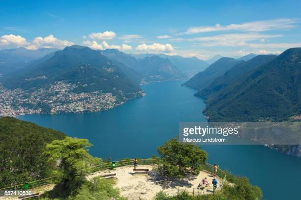 viewpoint over lake lugano - san salvador stock pictures, royalty-free photos & images