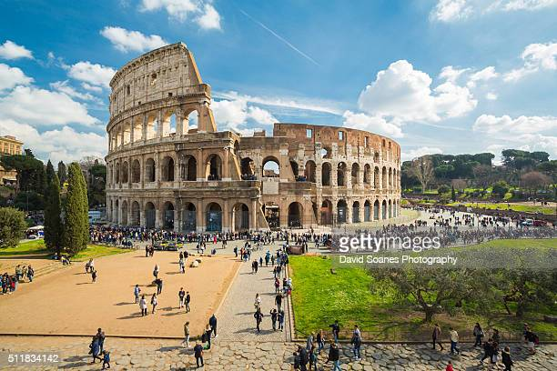 a viewpoint over the colosseum in rome, italy - coliseum rome stock photos and pictures