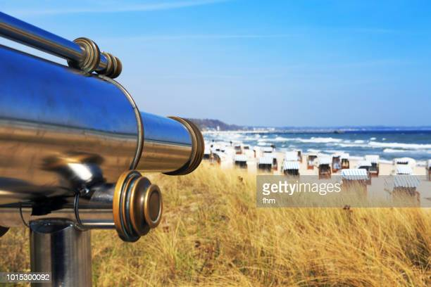 Viewpoint with telescope on the beach - holiday outlook (Timmendorfer Strand/ Schleswig-Holstein, Germany)