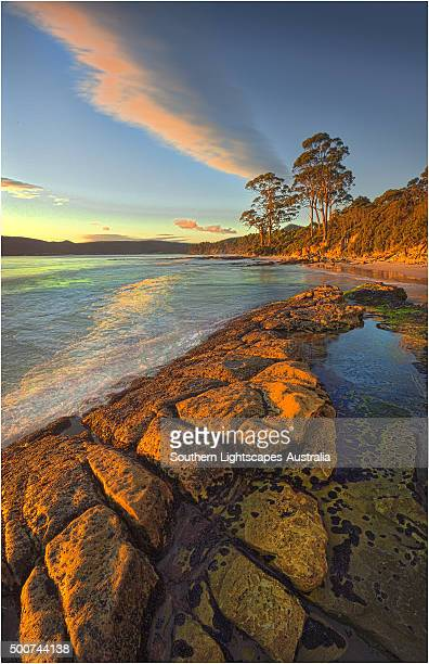 Views along the pristine coastline of Adventure bay, South Bruny Island, Tasmania