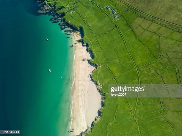 viste lungo la wild atlantic way, la penisola di dingle, le isole blasket, co. kerry, irlanda. - irlanda foto e immagini stock