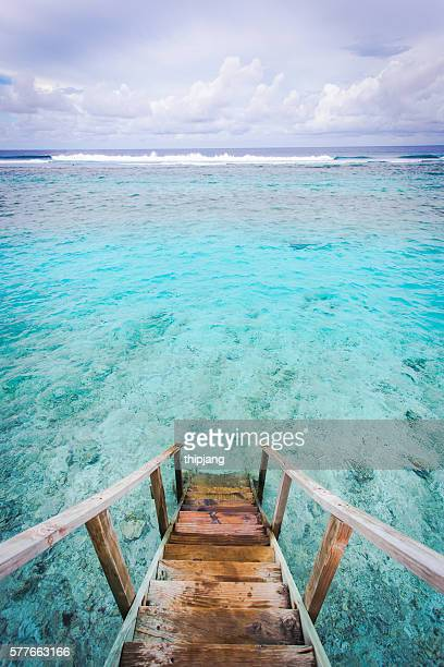 views form staircase Maldives water villa