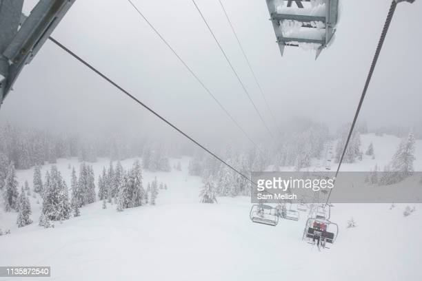 Views from a chair lift on the 5th April 2019 in Laax ski resort in Switzerland