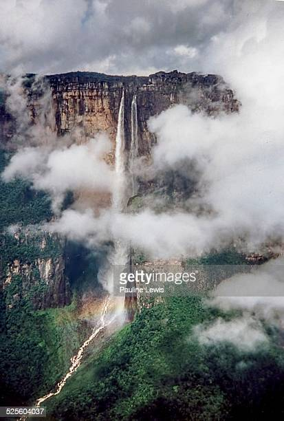 views from an aeroplane window - angel falls stock photos and pictures