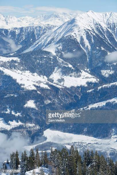 Views from Laax ski resort on the 3rd April 2019 in Laax Switzerland