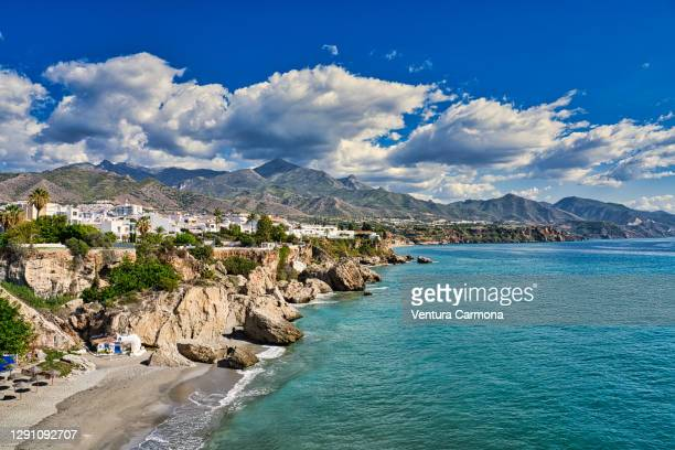 views from the balcony of europe in nerja, spain - コスタ・デル・ソル ストックフォトと画像