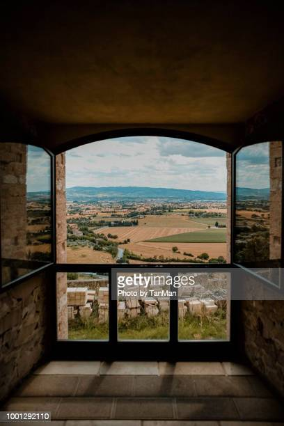views from the st. francis of assisi monastery in italy. - umbria stock pictures, royalty-free photos & images