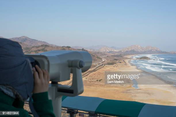 Views into North Korea and the DMZ from the Goseong Unification Observatory on 06th February 2016 in South Korea Open specially for the 2018 Winter...