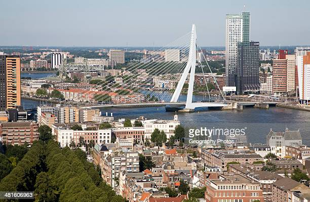 Views looking over the city center from the 185 meter tall Euromast tower Rotterdam Netherlands