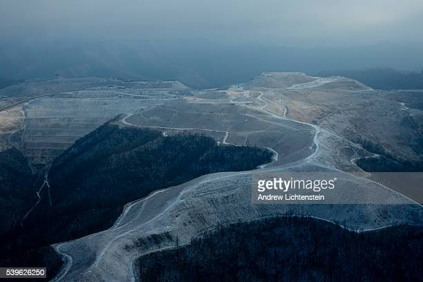 Views of a radically altered natural environment in southern West Virginia due to extensive mountain top removal coal mining and logging