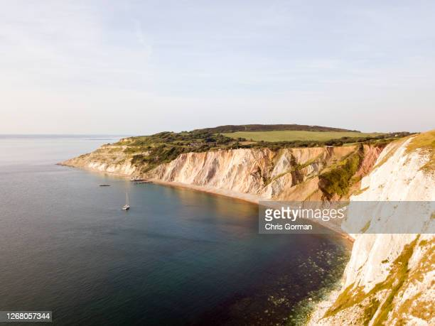 Views of Alum bay as seen by drone on June 19,2017 in the Isle of Wight.