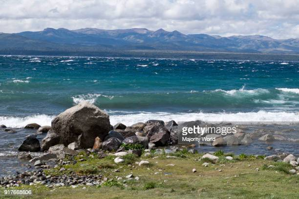 Views of Andes mountains by lake Nahuel Huapi in Bariloche Argentina