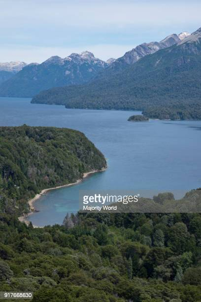 Views of Andes mountains by lake Nahuel Huapi in Bariloche, Argentina.