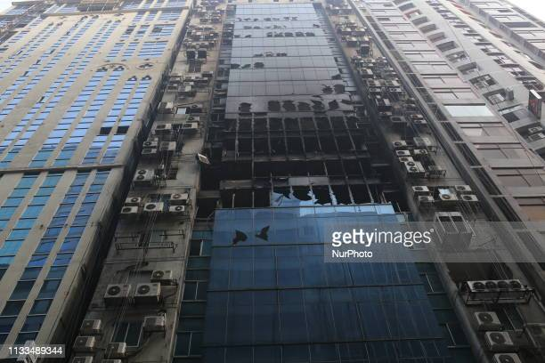 A views of burnt building in Dhaka Bangladesh on March 29 2019 At least 25 people were killed and 70 others injured in a fire that broke out at...
