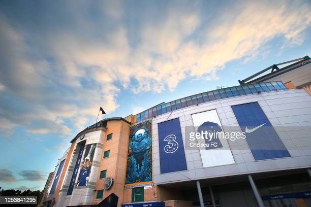 Views of Chelsea Football Club's new kit and sponsor on display at Stamford Bridge on July 01, 2020 in London, England.