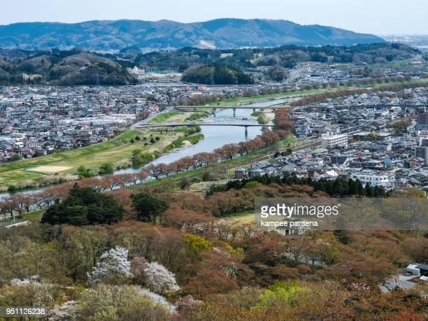 views of cherry blossoms at Shiroishi Riverside(Hitome Senbonzakura or thousand cherry trees at sight) and Zao Mountain Range seen from Funaoka Castle Ruin Park,Shibata,Miyagi,Tohoku,Japan.