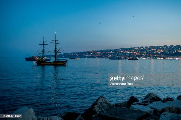 Views of Naples harbor on May 25 2018 in NaplesItaly
