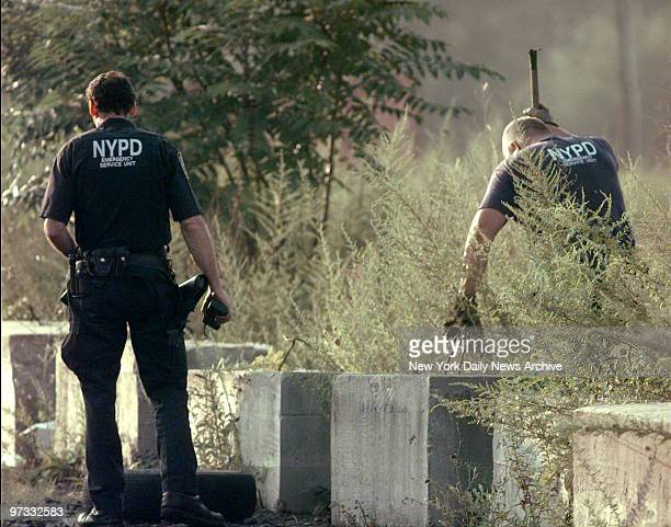 Views of police as they search area around New Jersey Transit train tracks looking for missing millionaire Irene Silverman