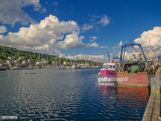 views of tarbert harbour, kintyre, scotland - argyll and bute stock photos and pictures