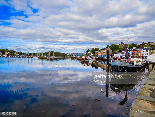 views of tarbert harbour - argyll and bute stock photos and pictures