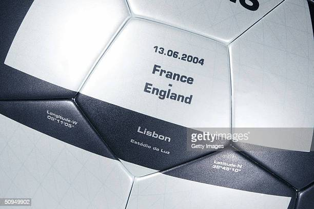 Views of the adidas Roteiro match ball for the France v England match the roteiro is the Official ball of the UEFA 2004 European Championships...