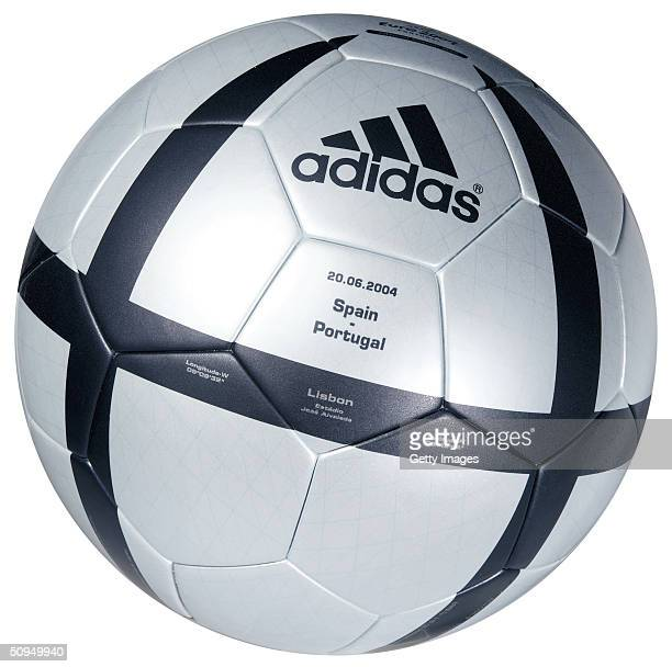 Views of the adidas Roteiro match ball for the Spain v Portugal match the roteiro is the Official ball of the UEFA 2004 European Championships...