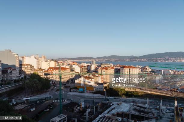views of the city of vigo and the vigo estuary. - ビーゴ市 ストックフォトと画像