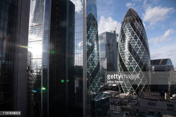 Views of the cityscape skyline looking towards 1 St Mary Axe aka the Gherkin from The Garden at 120, theCity of Londons largest rooftop public...