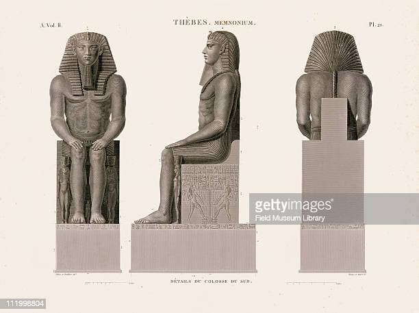 3 views of the Colossal Statue of Memnon Thebes Memnonium from the Description de l'Egypte 1809 1828 which was published by the orders of Napoleon...