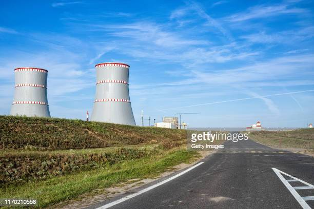 Views of the cooling towers at the Belarusian nuclear power plant on September 11, 2019 in Astravets, Belarus. The facility is just over 40...