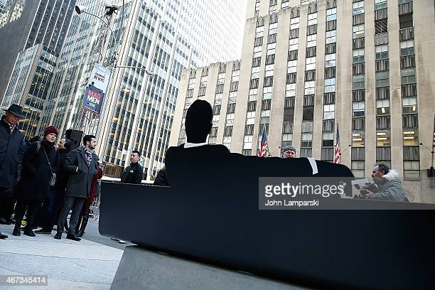 Views of the Draper Bench during the unveiling of the semipermanent sculpture during 'Mad Men' art installation Unveiling at Time Life Building on...