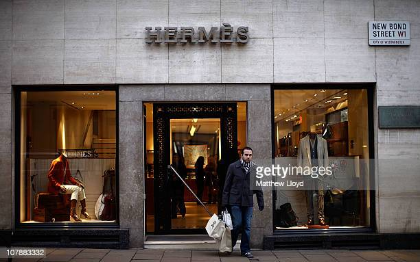 Views of the Hermes luxury goods shop on New Bond Street on January 5 2011 in London England Hermes is currently trying to fight a takeover by LVMH...